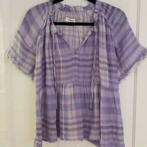 Anthropologie blue white gauze blouse sz medium